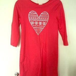 Dark pink dress with fair isle grey heart